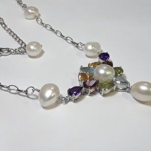 """6.5ctw Multi Gems & Pearl 20"""" 925 Necklace#13033"""